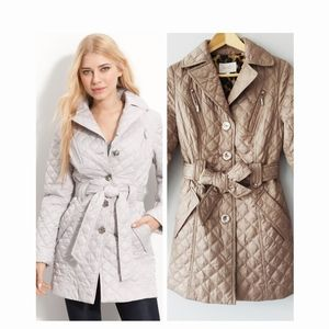 Laundry by Shelli Segel Quilted Belted Coat in Tan